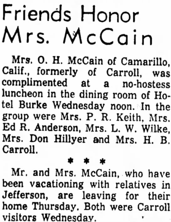 28 May  1959 Carrol Daily Times Herald, Carrol Iowa - Friends Honor Mrs. McCain Mrs. 0. H. McCain of...