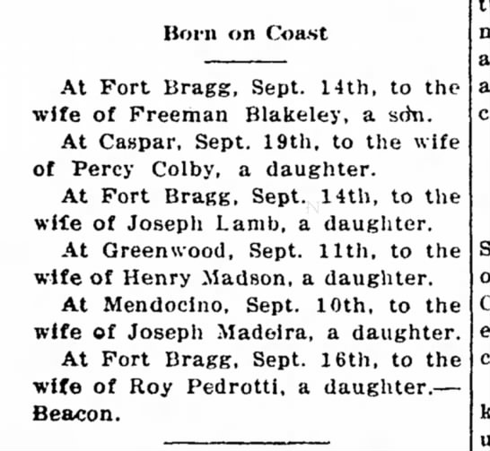 Joseph Lamb Ft Bragg 26 Sept 1913 - Born on Coa-st At Fort Bragg, Sept. 14lh, to...