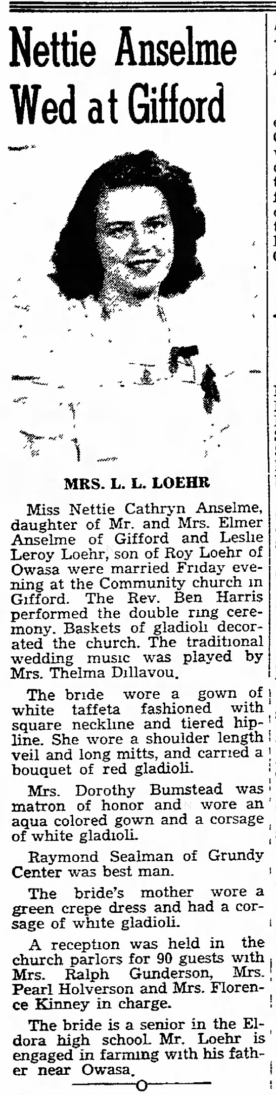 - Nettie Anseke Wed at Gilford MRS. L. L. LOEHR...