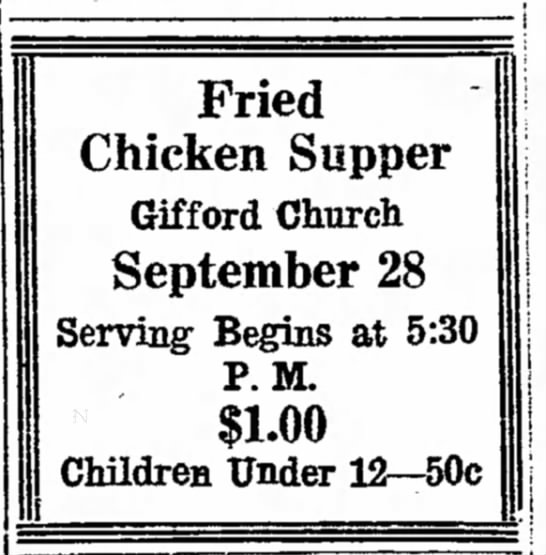 - j a l s Fried Chicken Supper Gifford Church...
