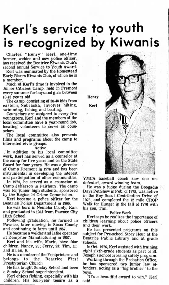 Kerl, Charles Henry award 22 Jul 1977 - Kerl's service to youth is recognized by...