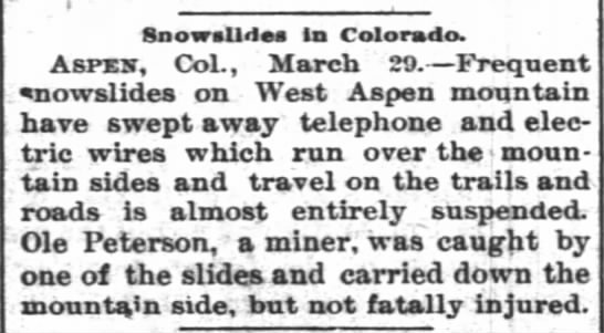 Ole Peterson  March 1895 - SnowsUdos la Colorado. Aspxs, Col., March 29....
