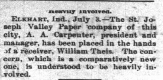 Albert Augustus Carpenter Elkhart Paper Valley company - .. - saewvuy aavoavM. ! Elkhart, Ind., July ;...