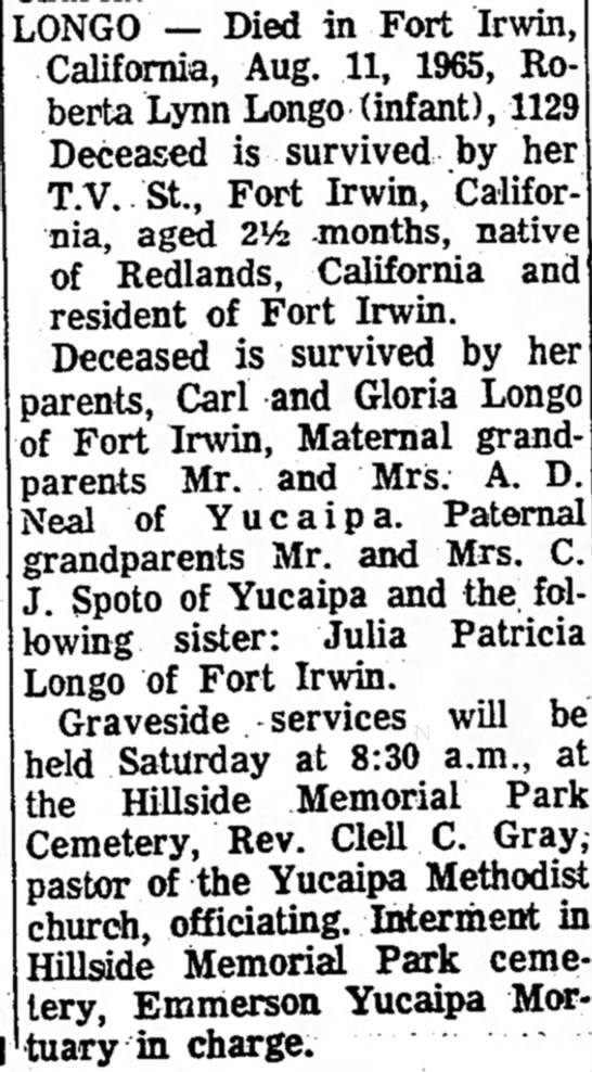 - LONGO — Died in Fort Irwin, California, Aug....
