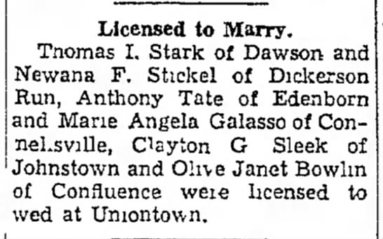 Galasso Marie Licensed to Marry 16 Feb 1946