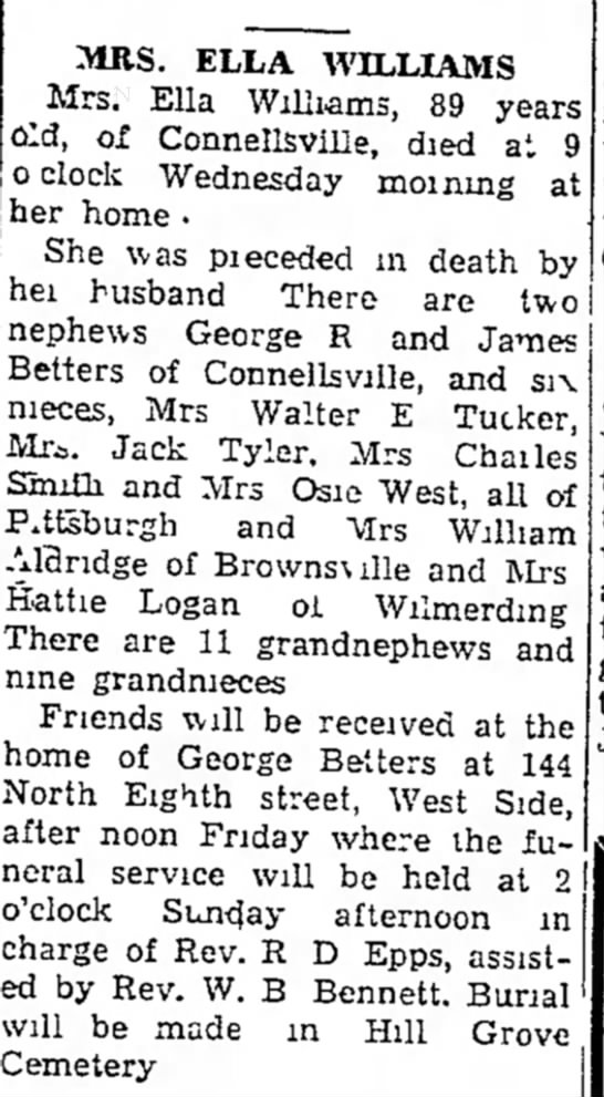 ella williams obit - MRS. ELLA WILLIAMS Mrs. Ella Williams, 89 years...