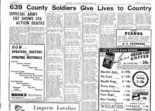 639 County Soldiers Give Lives for Country - CAGE TEX THE 'DAILY JKiER, CONiNKLLSVILLE, PA....