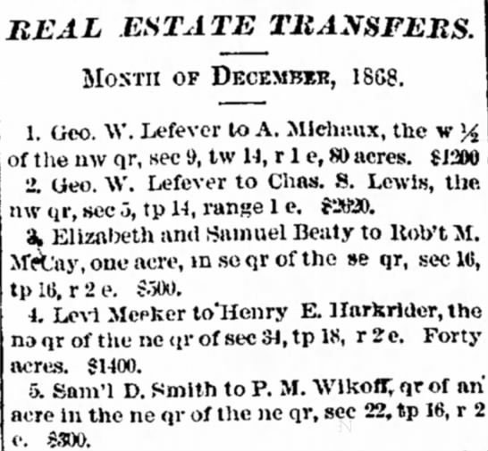 George W Lefever Decatur Weekly Republican Decatur Il 21 Jan 1869 - Dec. thereby convey- an REAL .ESTATE MOSTII OP...