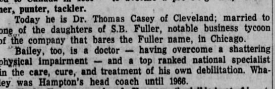 thomas casey- fuller son in-law - runner, punter, tackier. , . Today he is Dr....