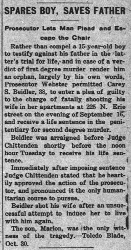 BEIDLER, Carey S. - verdict, murder case - SPARES BOY, SAVES FATHER ProMeutar Iata Man...