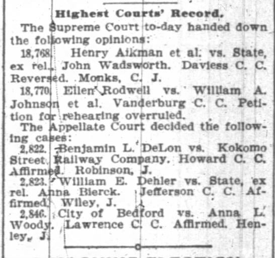 High court ruling on Dehler-Bierck  May 18, 1899 - Hlaheat Conrta Record. The Supreme Court ito -...