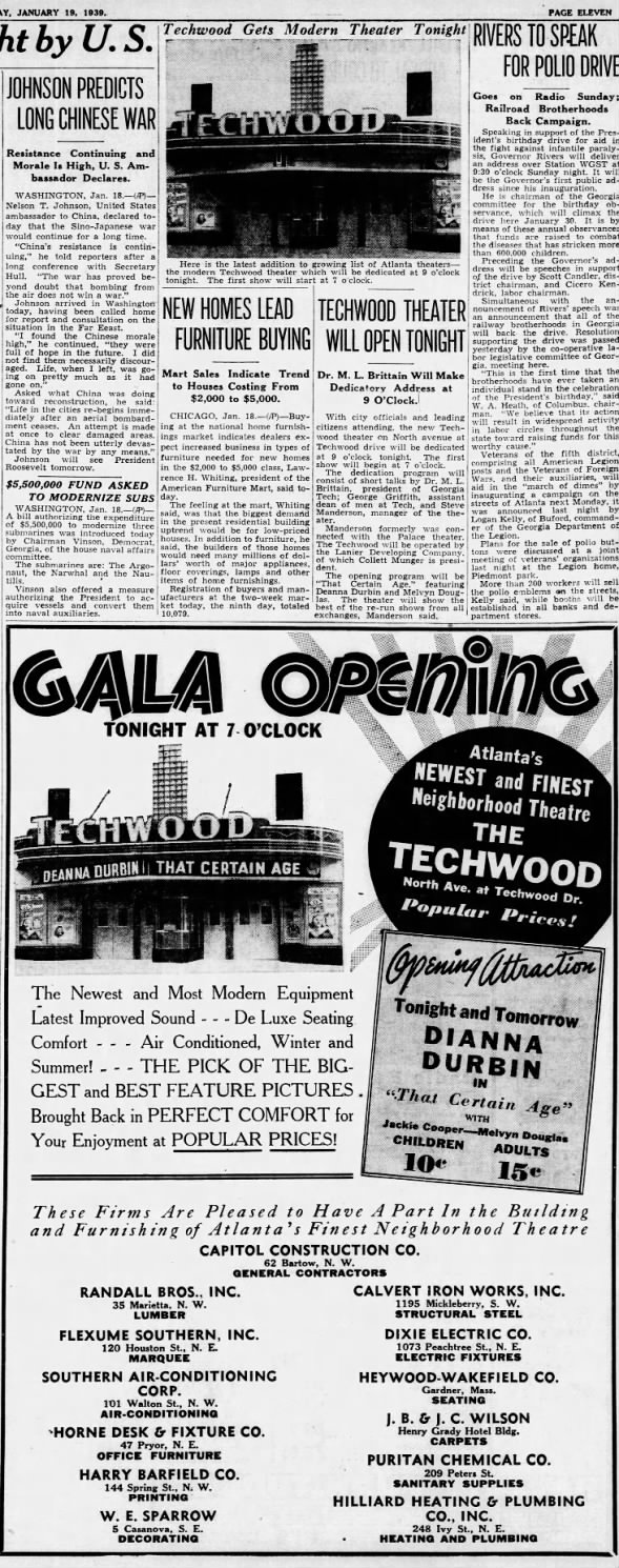 Techwood theatre opening