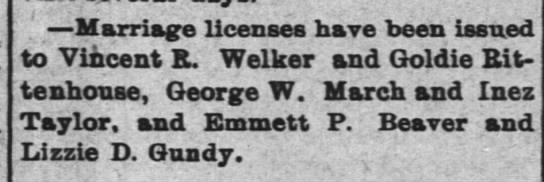14 may 1896 vincent marriage - Marriage licenses have been issued to Vincent...