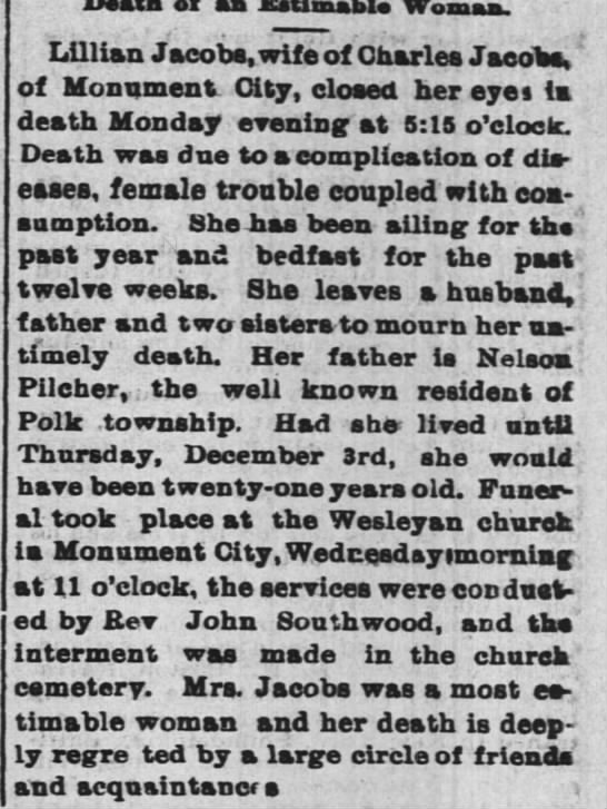 Lillian daughter of Nelson Plicher dies 3 dec 1896 - aa Womaa. Lillian Jacobs, wife of Charles...
