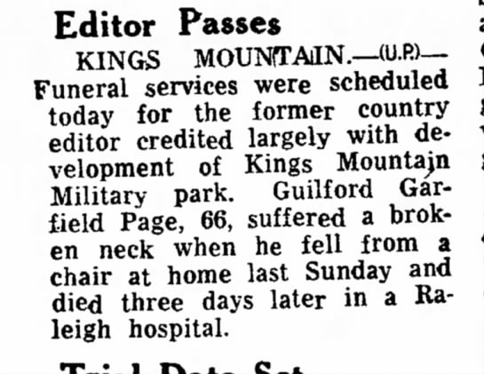 G.G. Page Editor Passes - Editor Passes KINGS MOUNTAIN.--U.»-- Funeral...