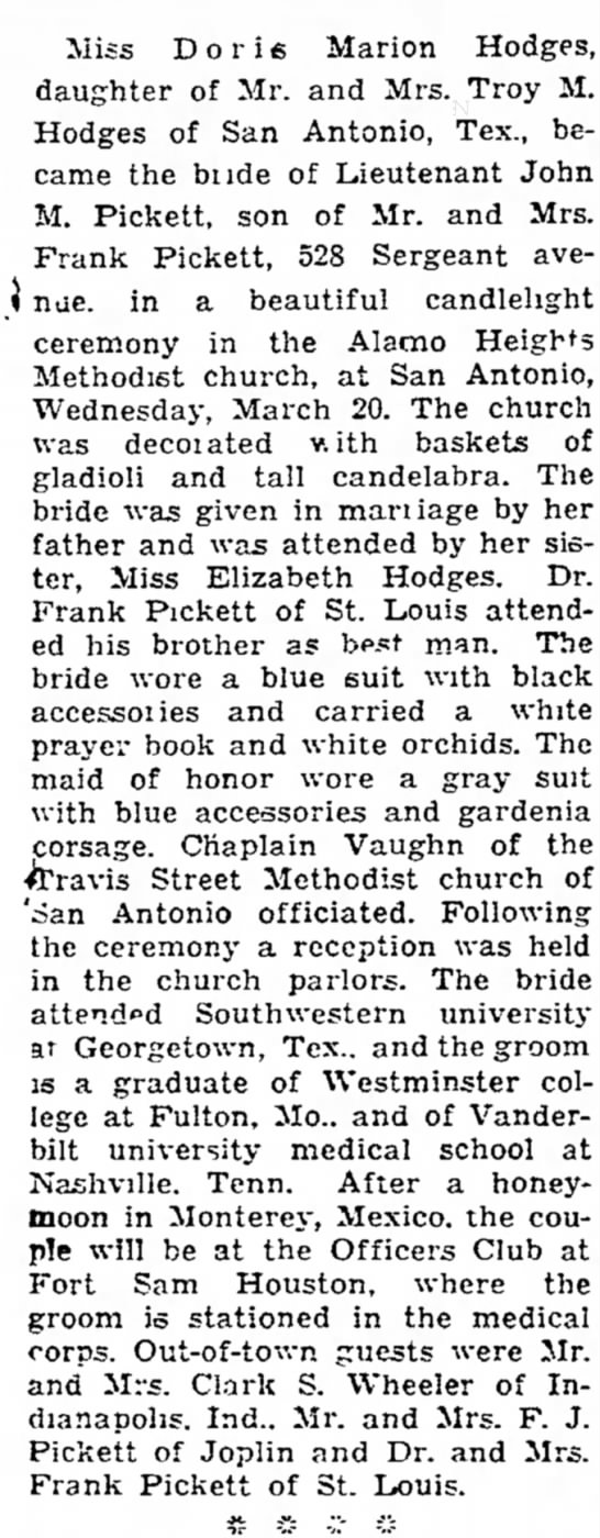 Doris Hodges and Dr. John Pickett marriage - Miss D o r i 6 Marion Hodges, daughter of Mr....