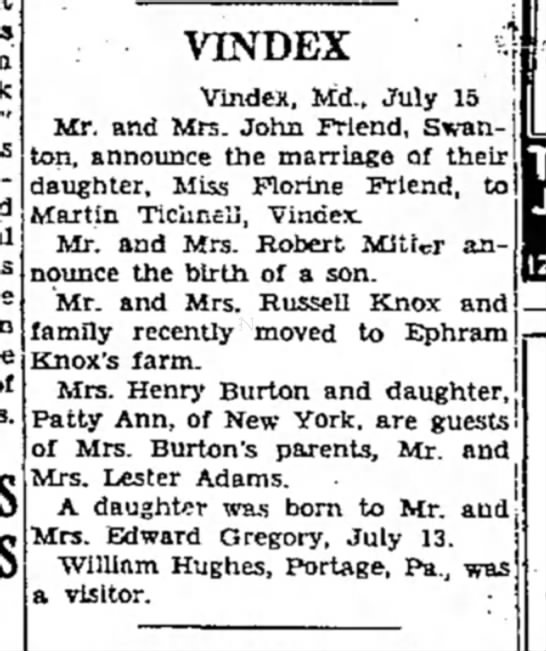 - VINDEX i Vindex, Md., July 15 Mr. and Mrs. John...