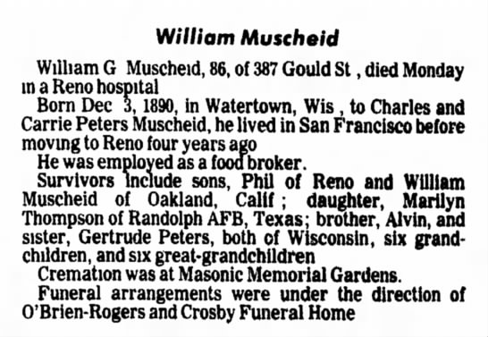 Nevada Evening Gazette (Reno,Nevada) May 20, 1977 page 14 - W/l/iom Muscheid William G Muscheid, 86, of 387...