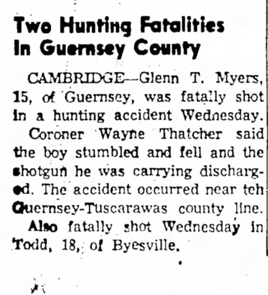 Glenn Myers death 12-29-1955 - Two Hunting Fatalities In Guernsey County...
