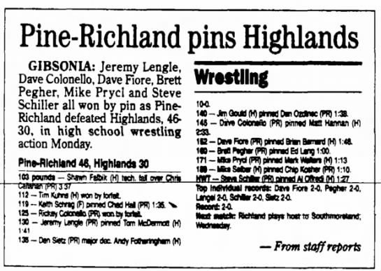 steve schiller wrestling - to swimming the Pine-Richland pins Highlands...