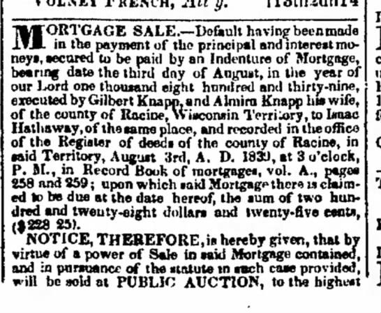 Gilbert Knapp mortgage default - 6 8 9 10 8 10 M ORTGAGE SALE.--Doult having...