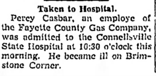 Percy Casbar taken to hospital Page 14 The Daily Courier May 22 1942