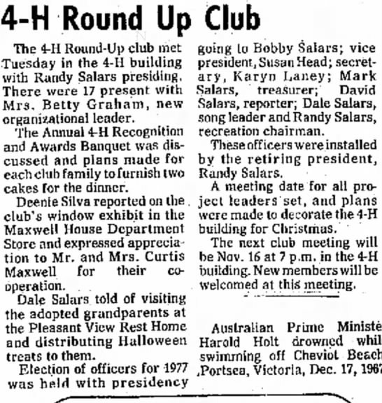 "The Maxwell House Department Store support of 4-H Round Up Club. - and a ""end i 4-H Round Up Club had The 4-H..."