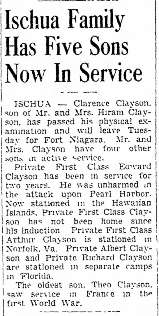 Clarence - Ischua Family Has Five Sons Now In Service , j...