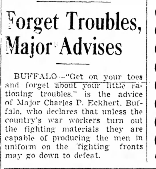 Charles P Eckhert 1943 - at York and Forget Troubles, Major Advises...