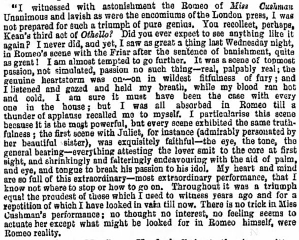 Review of the performance of Miss Cushman as Romeo and her sister as Juliet