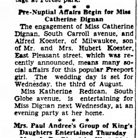 Pre-nuptial affairs for Alfred Koester & Catherine Dignan, 22 Jul 1938.