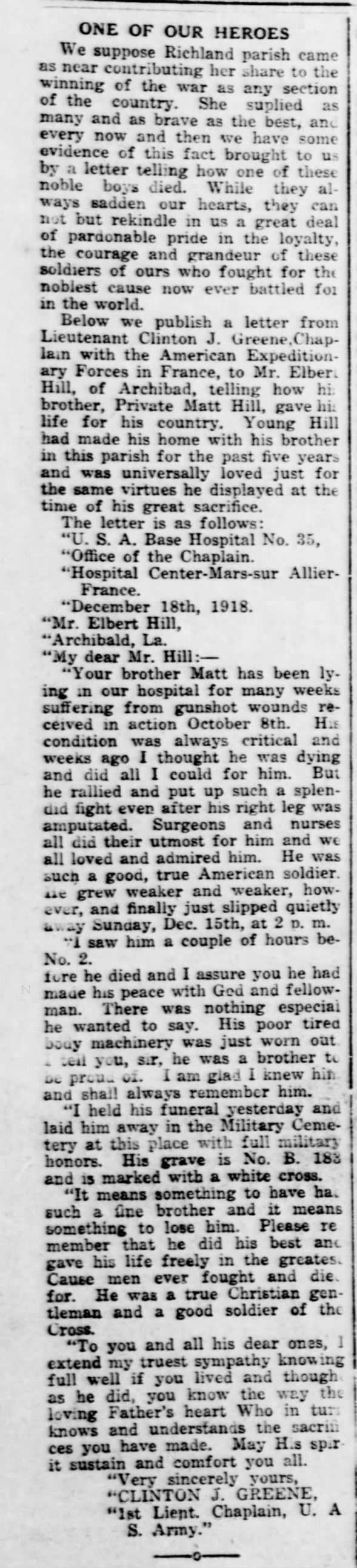 Pfc. Matt Hill, of Archibald, WWI Death
