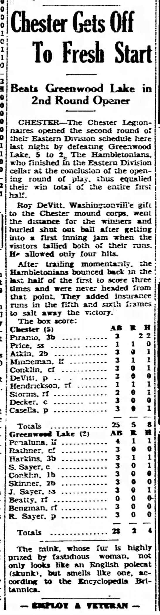 19470708 RoyWD Middletown Times Herald (Middletown, New York) Tuesday, July 8, 1947 p12 CLIP 2of2 - l| 1 0 3 0 0 at at i Chester Gets Off To Fresh...