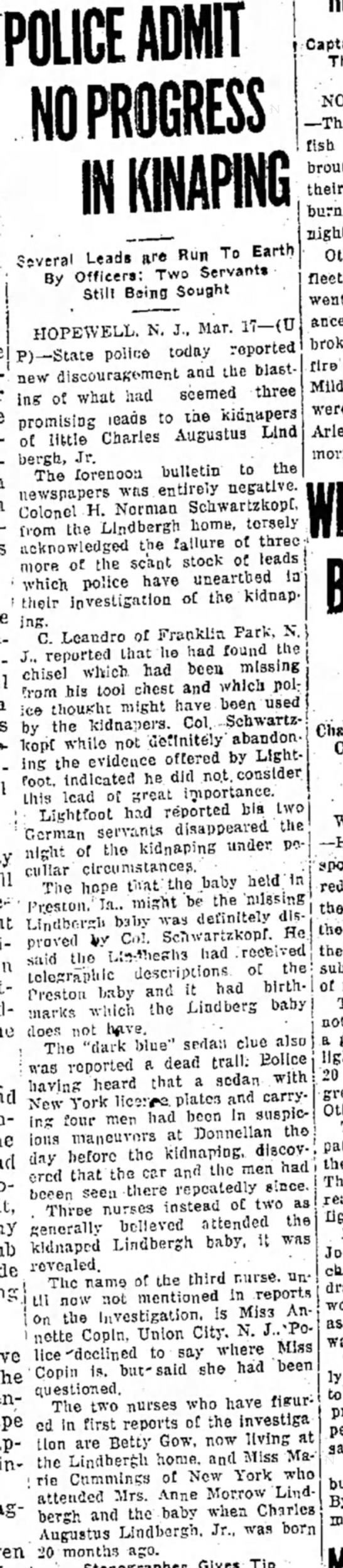 Annette Copin Lindbergh Baby Nurse - POLICE ADMIT NO PROGRESS s . vc ral Leads are...