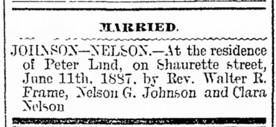 "LIND - Johnson/Nelson marriage 1887 - Mrs. Hand,"" of both recital JI.VKBIED...."