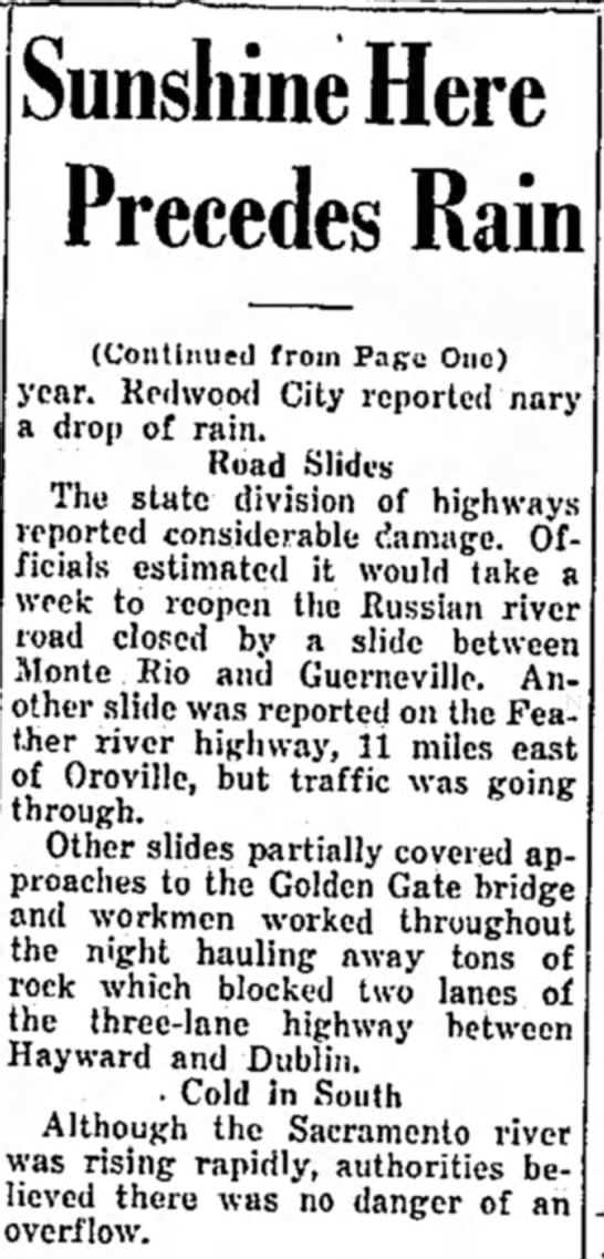 Weather affects roads, 1940 - Sunshine Here Precedes Rain (Continued from...