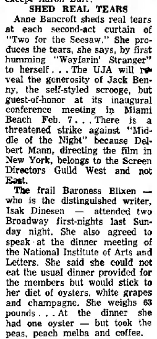 Shed Real Tears. The Times (San Mateo, California) 6 February, 1959, p 23 - in SHED REAL TEARS Anne Bancroft sheds real...
