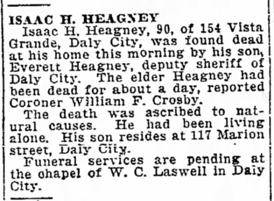 Isaac Heagney - OBIT - father of Everett - ISAAC H. HEAGXBY Isaac H Heag-ney, 90, of 154...
