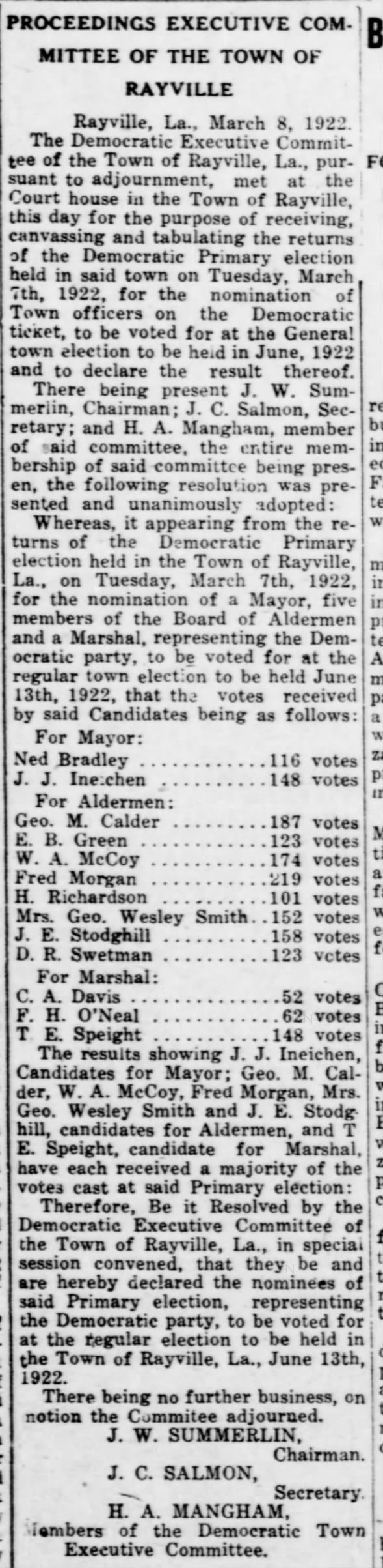 1922 Local Elections - Votes Cast In Rayville Election