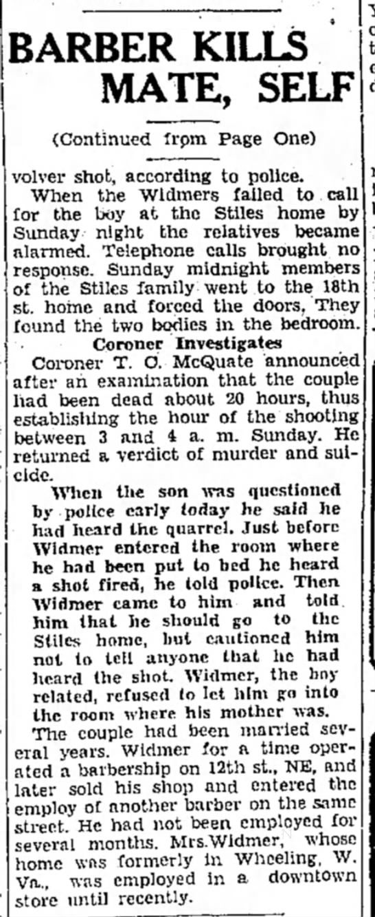 Howard & Sarah Widmer 1932 - a BARBER KILLS MATE, SELF (Continued from Page...