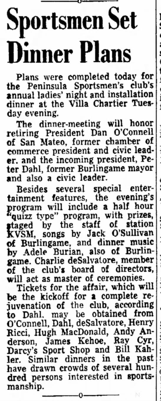 Music gig 1947 - Sportsmen Set Dinner Plans Plans were completed...