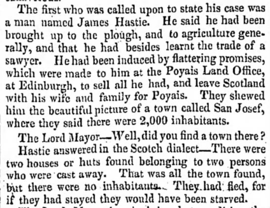 James Hastie shares his experience in Poyais - The first who was called upon to state his case...