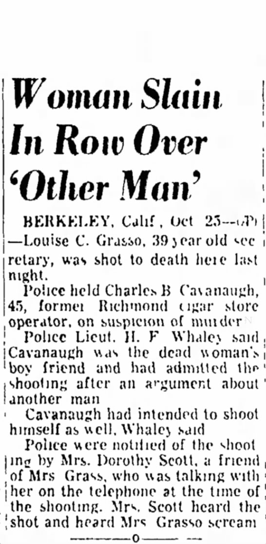 San Mateo Times, 25 Oct 1949 - an first users of main of Woman Slain In Row...