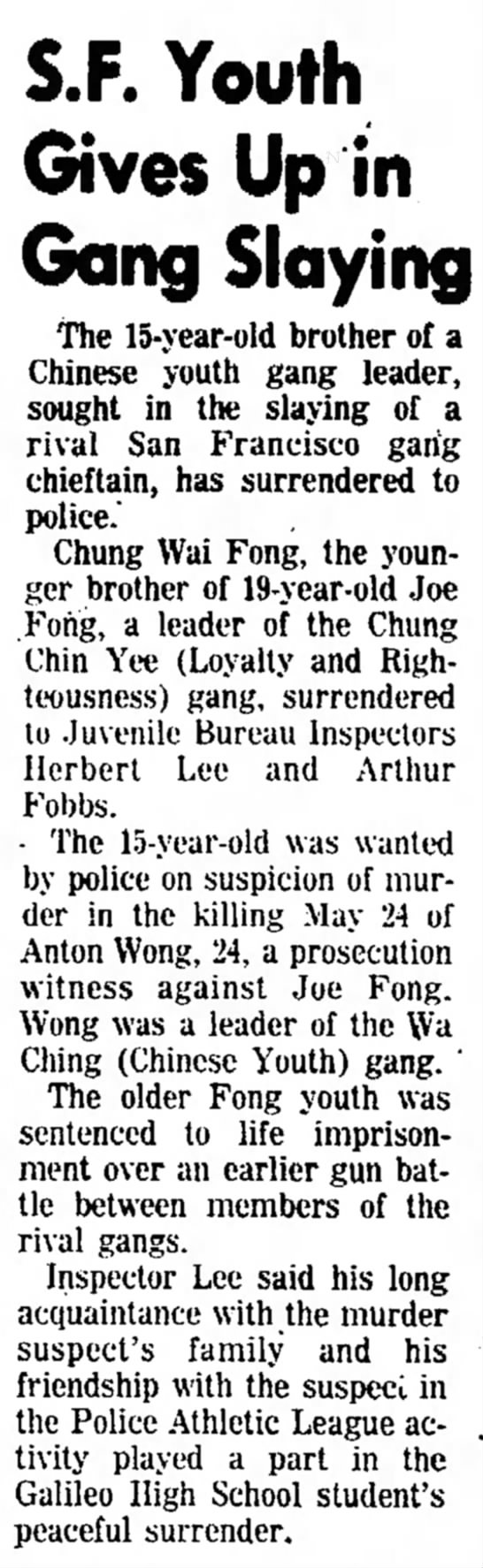 Chung Wai Fong surrenders in murder case - S - F - Youth he the the Then Lee, Rowan, Gives...