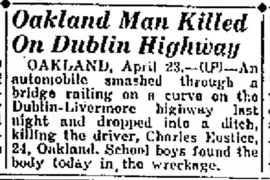 Accident on road, 1941 - navy the OAKLAND, April 23.--(IP)--An...