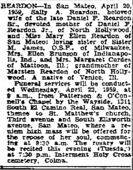 The Times (San Mateo, CA) 21 Apr 1959 - REARDON--In San Mateo, April 20 1959, Sally A....