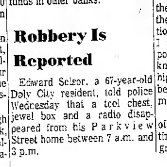- 20 San Pollock Robbery Is Reported Edward...