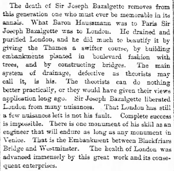 Sir Joseph Bazalgette's contributions