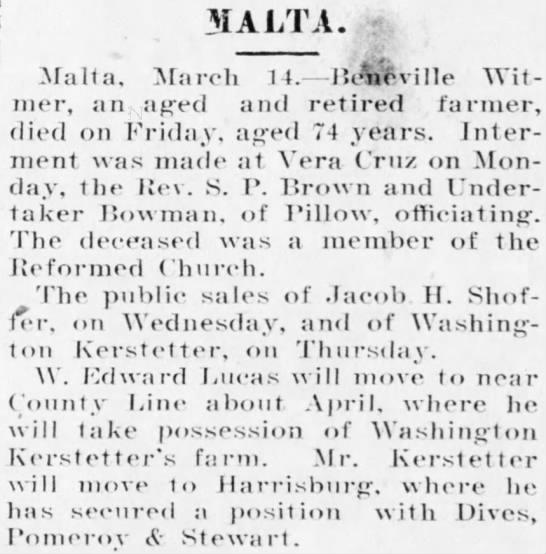 Washington Kerstetter's sale; moving to Harrisburg 1901 - 3IALTA. Malta, March 1 4. Hcneville Wit mer, an...