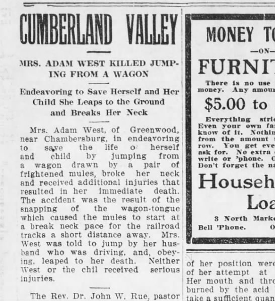 Harrisburg Telegraph (Harrisburg, PA) 25 June 1906 Monday - IB! HIB .MRS. ADAM WEST KILLED JUMP - IXG FROM...